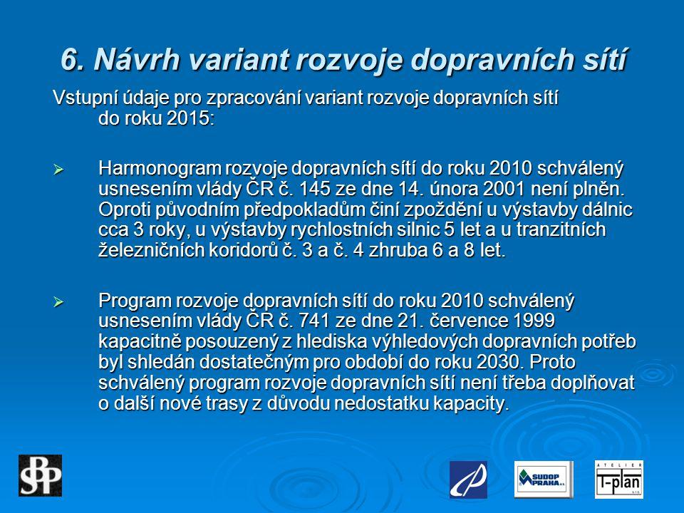 6. Návrh variant rozvoje dopravních sítí Vstupní údaje pro zpracování variant rozvoje dopravních sítí do roku 2015:  Harmonogram rozvoje dopravních s