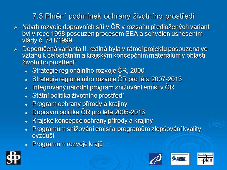 7.3 Plnění podmínek ochrany životního prostředí  Návrh rozvoje dopravních sítí v ČR v rozsahu předložených variant byl v roce 1998 posouzen procesem