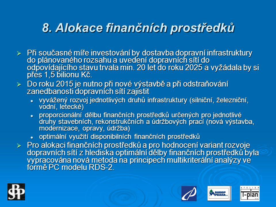 8. Alokace finančních prostředků  Při současné míře investování by dostavba dopravní infrastruktury do plánovaného rozsahu a uvedení dopravních sítí