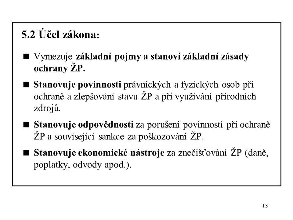 13 5.2 Účel zákona :  Vymezuje základní pojmy a stanoví základní zásady ochrany ŽP.  Stanovuje povinnosti právnických a fyzických osob při ochraně a