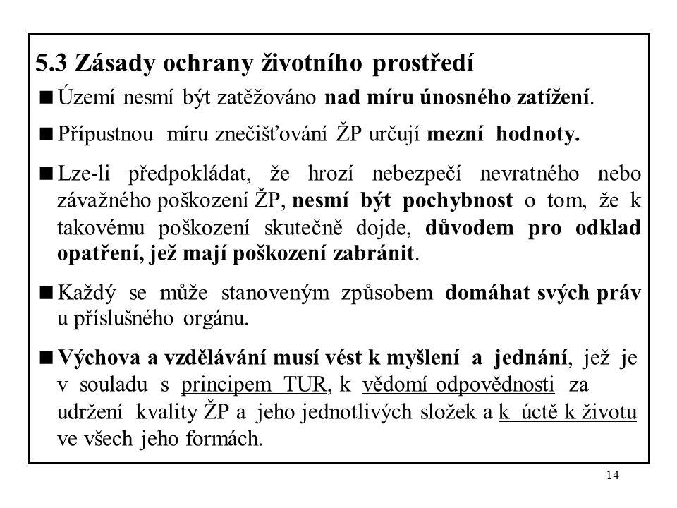 14 5.3 Zásady ochrany životního prostředí  Území nesmí být zatěžováno nad míru únosného zatížení.  Přípustnou míru znečišťování ŽP určují mezní hodn