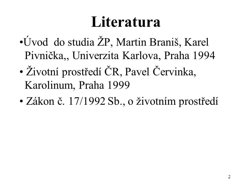 2 Literatura •Úvod do studia ŽP, Martin Braniš, Karel Pivnička,, Univerzita Karlova, Praha 1994 • Životní prostředí ČR, Pavel Červinka, Karolinum, Pra