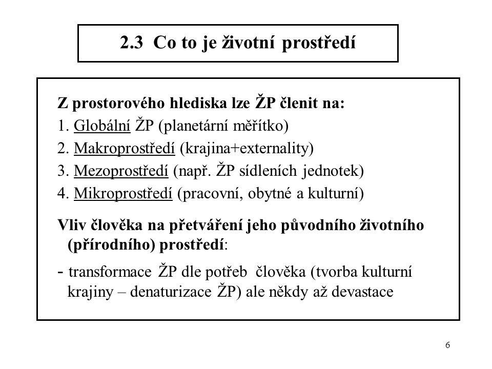 6 2.3 Co to je životní prostředí Z prostorového hlediska lze ŽP členit na: 1. Globální ŽP (planetární měřítko) 2. Makroprostředí (krajina+externality)