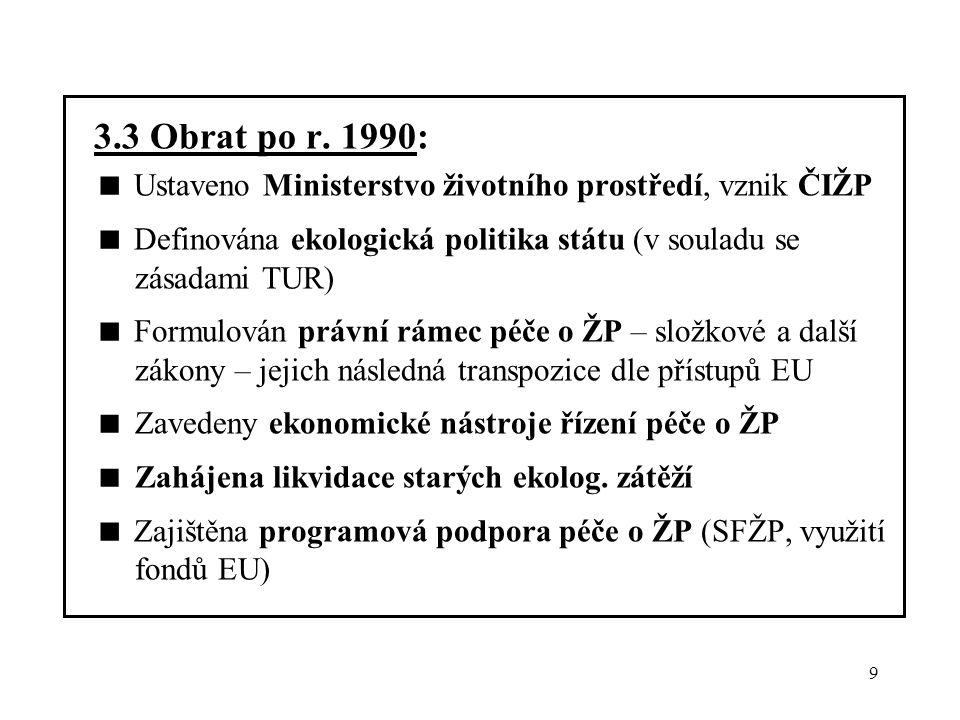 9 3.3 Obrat po r. 1990:  Ustaveno Ministerstvo životního prostředí, vznik ČIŽP  Definována ekologická politika státu (v souladu se zásadami TUR)  F