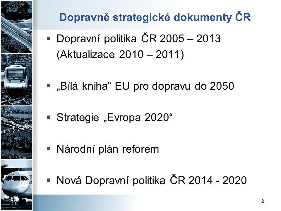"""2 Dopravně strategické dokumenty ČR  Dopravní politika ČR 2005 – 2013 (Aktualizace 2010 – 2011)  """"Bílá kniha"""" EU pro dopravu do 2050  Strategie """"Ev"""