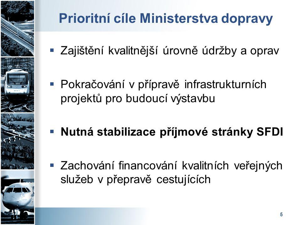 5 Prioritní cíle Ministerstva dopravy  Zajištění kvalitnější úrovně údržby a oprav  Pokračování v přípravě infrastrukturních projektů pro budoucí vý