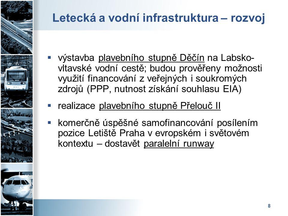 8 Letecká a vodní infrastruktura – rozvoj  výstavba plavebního stupně Děčín na Labsko- vltavské vodní cestě; budou prověřeny možnosti využití financo