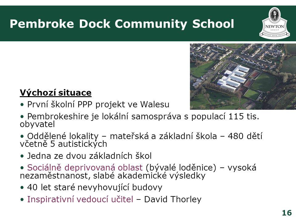 16 Pembroke Dock Community School Výchozí situace • První školní PPP projekt ve Walesu • Pembrokeshire je lokální samospráva s populací 115 tis.
