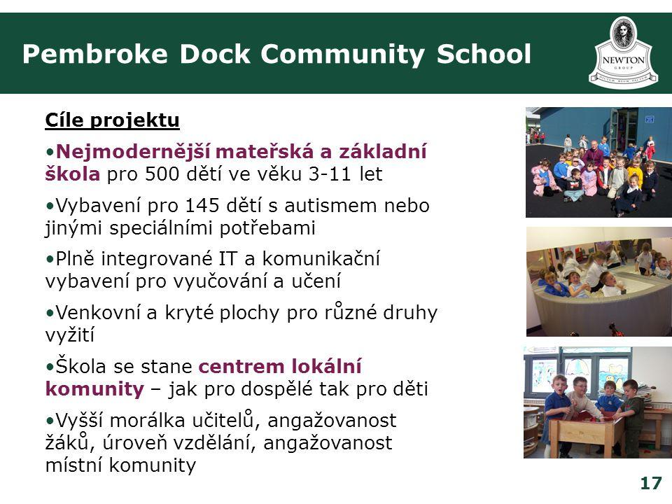 17 Pembroke Dock Community School Cíle projektu •Nejmodernější mateřská a základní škola pro 500 dětí ve věku 3-11 let •Vybavení pro 145 dětí s autismem nebo jinými speciálními potřebami •Plně integrované IT a komunikační vybavení pro vyučování a učení •Venkovní a kryté plochy pro různé druhy vyžití •Škola se stane centrem lokální komunity – jak pro dospělé tak pro děti •Vyšší morálka učitelů, angažovanost žáků, úroveň vzdělání, angažovanost místní komunity