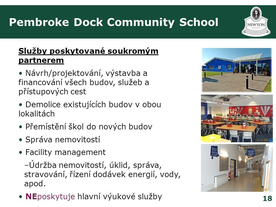 18 Pembroke Dock Community School Služby poskytované soukromým partnerem • Návrh/projektování, výstavba a financování všech budov, služeb a přístupových cest • Demolice existujících budov v obou lokalitách • Přemístění škol do nových budov • Správa nemovitostí • Facility management –Údržba nemovitostí, úklid, správa, stravování, řízení dodávek energií, vody, apod.