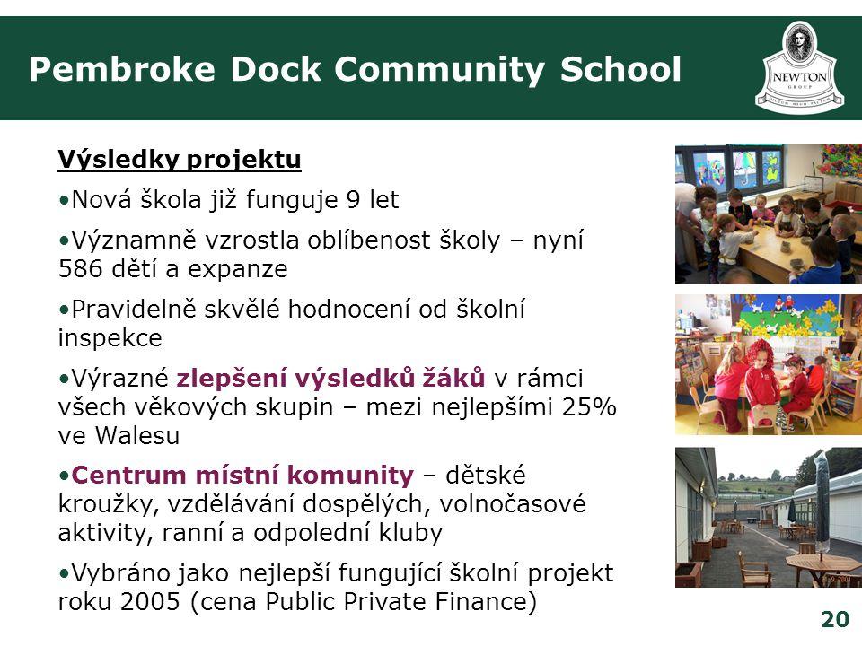 20 Pembroke Dock Community School Výsledky projektu •Nová škola již funguje 9 let •Významně vzrostla oblíbenost školy – nyní 586 dětí a expanze •Pravidelně skvělé hodnocení od školní inspekce •Výrazné zlepšení výsledků žáků v rámci všech věkových skupin – mezi nejlepšími 25% ve Walesu •Centrum místní komunity – dětské kroužky, vzdělávání dospělých, volnočasové aktivity, ranní a odpolední kluby •Vybráno jako nejlepší fungující školní projekt roku 2005 (cena Public Private Finance)