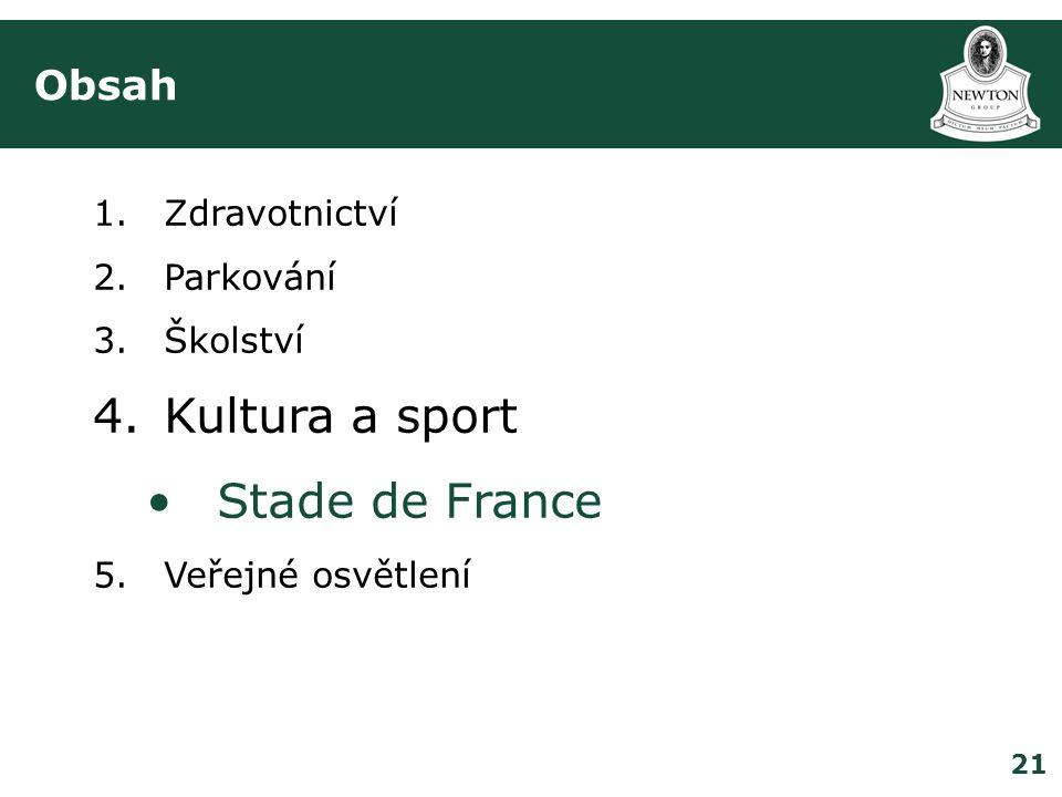 21 Obsah 1.Zdravotnictví 2.Parkování 3.Školství 4.Kultura a sport •Stade de France 5.Veřejné osvětlení