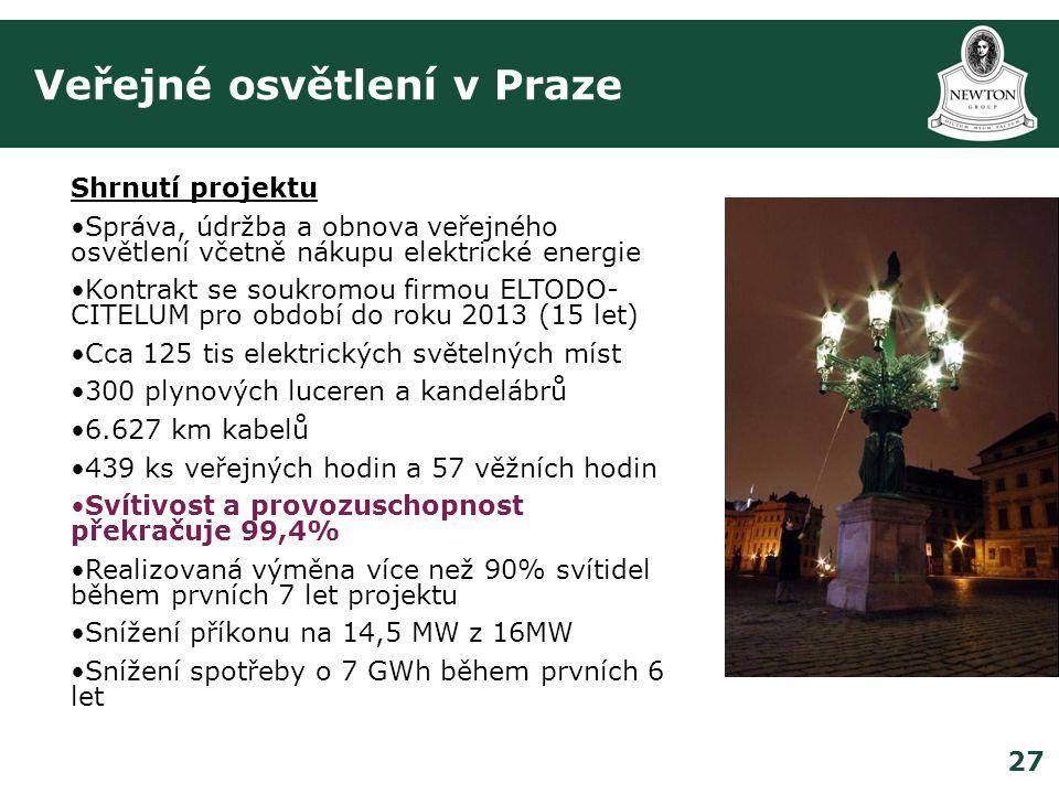 27 Veřejné osvětlení v Praze Shrnutí projektu •Správa, údržba a obnova veřejného osvětlení včetně nákupu elektrické energie •Kontrakt se soukromou firmou ELTODO- CITELUM pro období do roku 2013 (15 let) •Cca 125 tis elektrických světelných míst •300 plynových luceren a kandelábrů •6.627 km kabelů •439 ks veřejných hodin a 57 věžních hodin •Svítivost a provozuschopnost překračuje 99,4% •Realizovaná výměna více než 90% svítidel během prvních 7 let projektu •Snížení příkonu na 14,5 MW z 16MW •Snížení spotřeby o 7 GWh během prvních 6 let