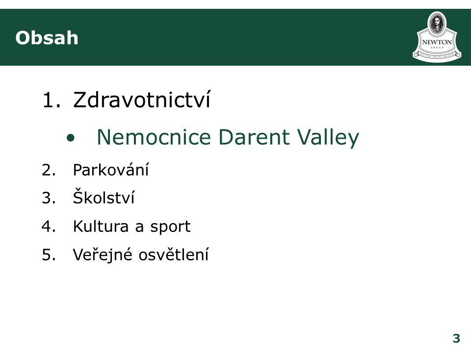3 Obsah 1.Zdravotnictví •Nemocnice Darent Valley 2.Parkování 3.Školství 4.Kultura a sport 5.Veřejné osvětlení