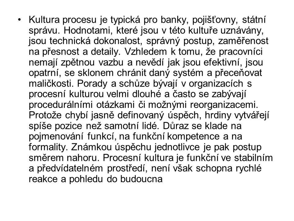 •Kultura procesu je typická pro banky, pojišťovny, státní správu. Hodnotami, které jsou v této kultuře uznávány, jsou technická dokonalost, správný po
