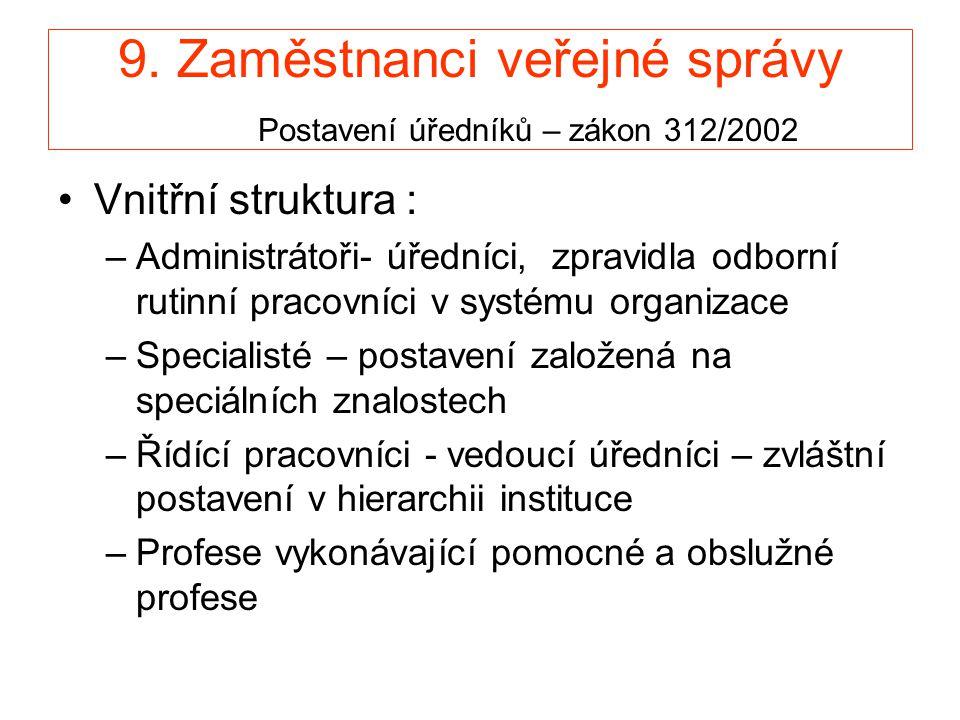 9. Zaměstnanci veřejné správy Postavení úředníků – zákon 312/2002 •Vnitřní struktura : –Administrátoři- úředníci, zpravidla odborní rutinní pracovníci