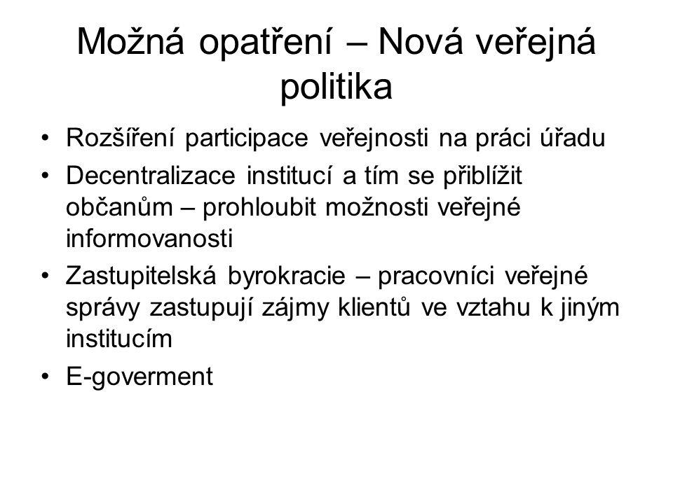 Možná opatření – Nová veřejná politika •Rozšíření participace veřejnosti na práci úřadu •Decentralizace institucí a tím se přiblížit občanům – prohlou