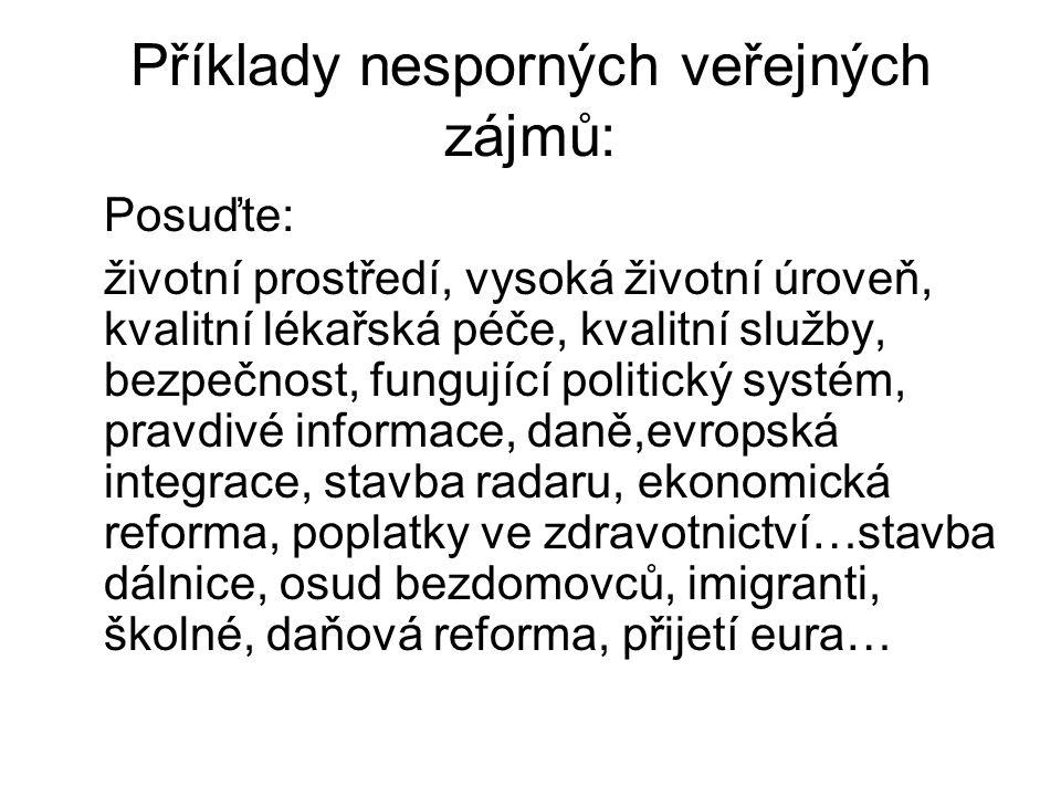 Příklady nesporných veřejných zájmů: Posuďte: životní prostředí, vysoká životní úroveň, kvalitní lékařská péče, kvalitní služby, bezpečnost, fungující