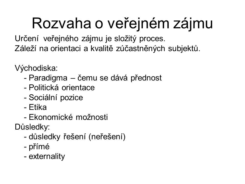 Rozvaha o veřejném zájmu Určení veřejného zájmu je složitý proces.