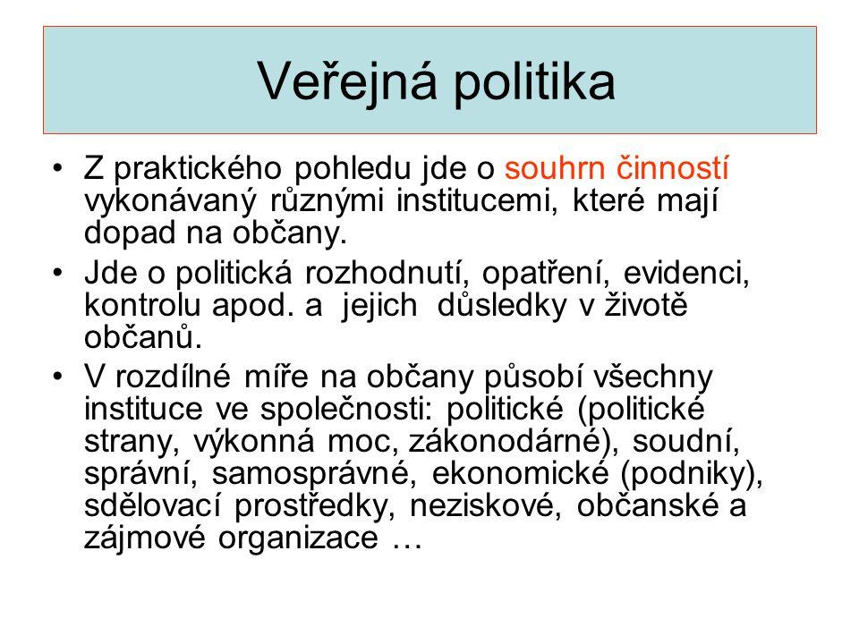 Veřejná politika •Z praktického pohledu jde o souhrn činností vykonávaný různými institucemi, které mají dopad na občany. •Jde o politická rozhodnutí,