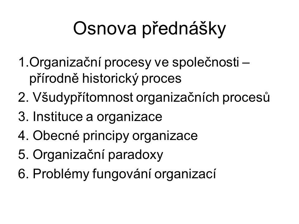 Osnova přednášky 1.Organizační procesy ve společnosti – přírodně historický proces 2. Všudypřítomnost organizačních procesů 3. Instituce a organizace