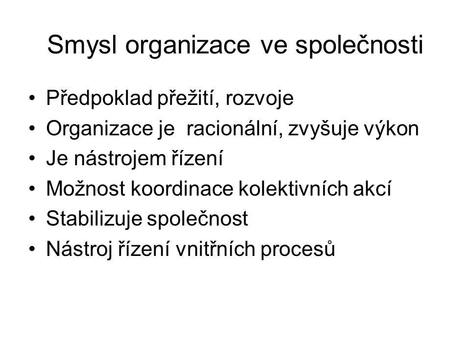 Smysl organizace ve společnosti •Předpoklad přežití, rozvoje •Organizace je racionální, zvyšuje výkon •Je nástrojem řízení •Možnost koordinace kolektivních akcí •Stabilizuje společnost •Nástroj řízení vnitřních procesů
