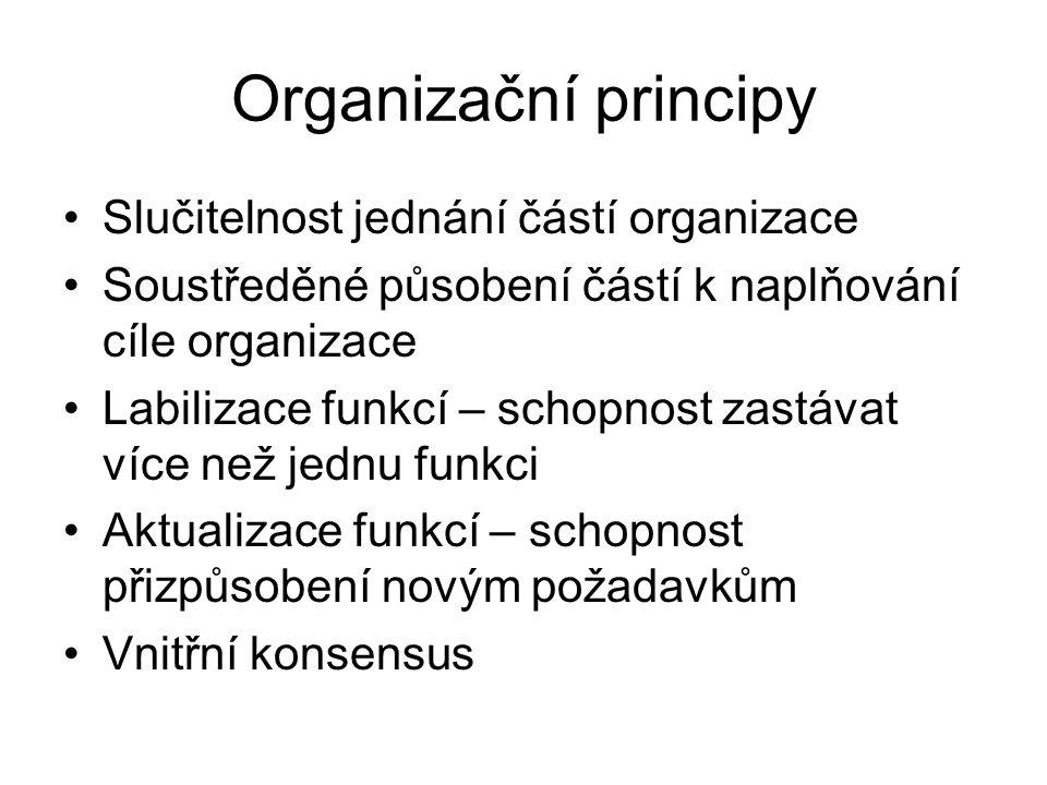 Organizační principy •Slučitelnost jednání částí organizace •Soustředěné působení částí k naplňování cíle organizace •Labilizace funkcí – schopnost zastávat více než jednu funkci •Aktualizace funkcí – schopnost přizpůsobení novým požadavkům •Vnitřní konsensus