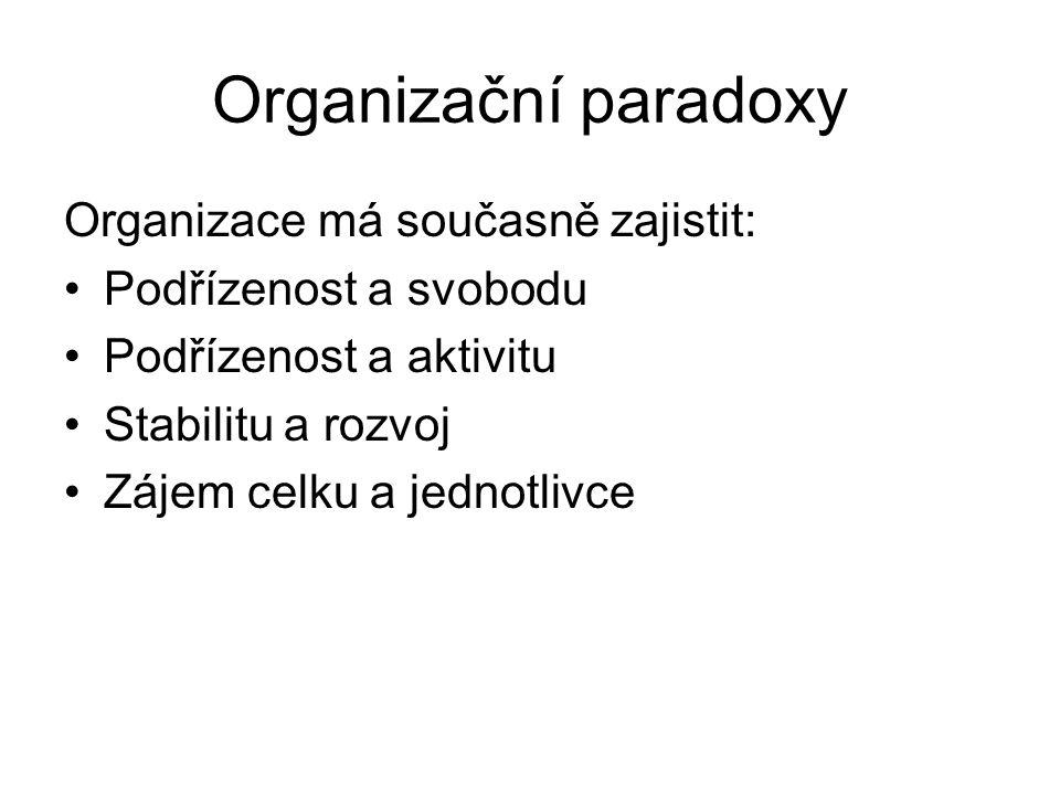 Organizační paradoxy Organizace má současně zajistit: •Podřízenost a svobodu •Podřízenost a aktivitu •Stabilitu a rozvoj •Zájem celku a jednotlivce