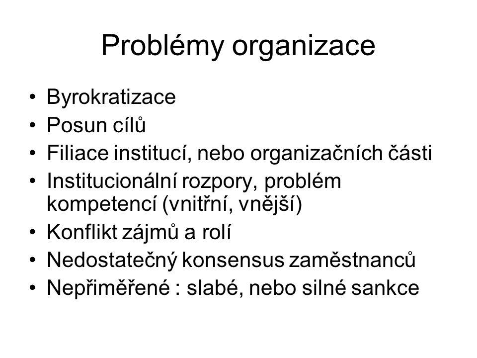 Problémy organizace •Byrokratizace •Posun cílů •Filiace institucí, nebo organizačních části •Institucionální rozpory, problém kompetencí (vnitřní, vnější) •Konflikt zájmů a rolí •Nedostatečný konsensus zaměstnanců •Nepřiměřené : slabé, nebo silné sankce