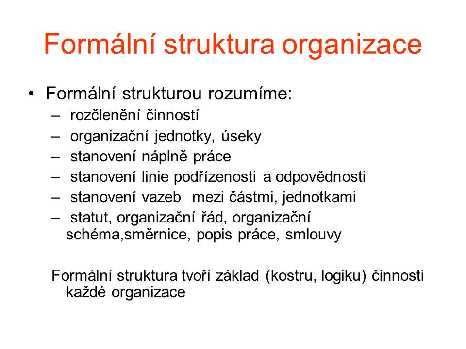 Formální struktura organizace •Formální strukturou rozumíme: – rozčlenění činností – organizační jednotky, úseky – stanovení náplně práce – stanovení linie podřízenosti a odpovědnosti – stanovení vazeb mezi částmi, jednotkami – statut, organizační řád, organizační schéma,směrnice, popis práce, smlouvy Formální struktura tvoří základ (kostru, logiku) činnosti každé organizace