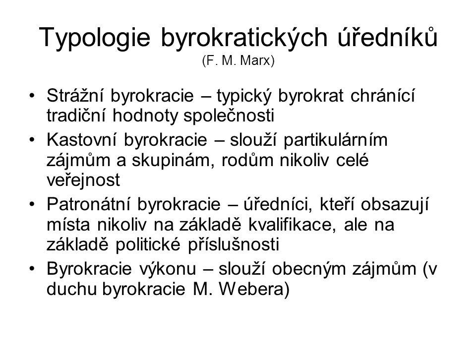 Typologie byrokratických úředníků (F. M. Marx) •Strážní byrokracie – typický byrokrat chránící tradiční hodnoty společnosti •Kastovní byrokracie – slo