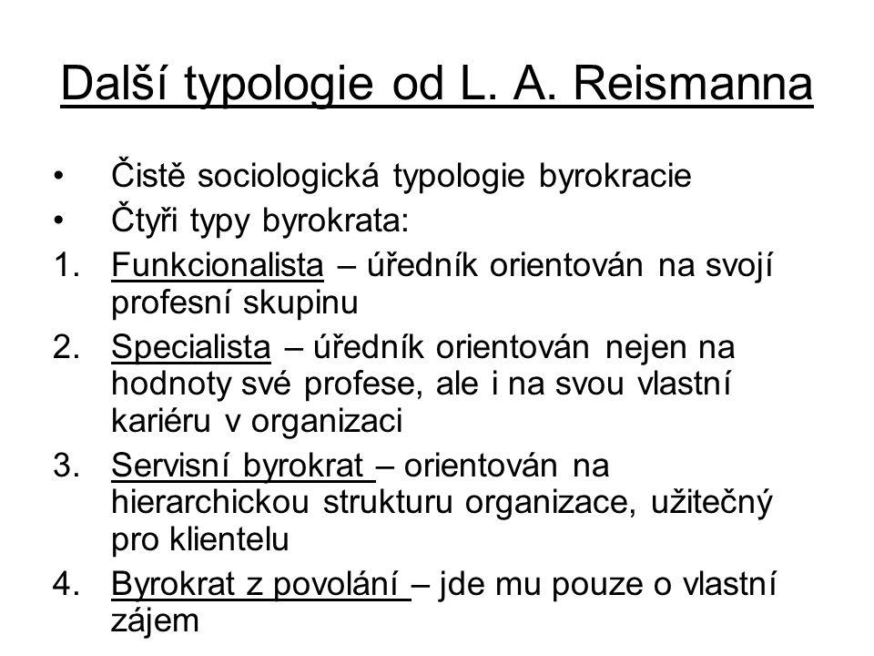 Další typologie od L. A. Reismanna •Čistě sociologická typologie byrokracie •Čtyři typy byrokrata: 1.Funkcionalista – úředník orientován na svojí prof