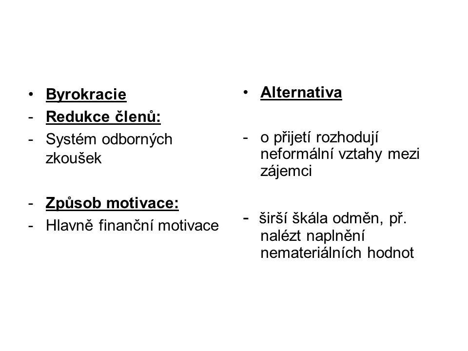 •Byrokracie -Redukce členů: -Systém odborných zkoušek -Způsob motivace: -Hlavně finanční motivace •Alternativa -o přijetí rozhodují neformální vztahy mezi zájemci - širší škála odměn, př.