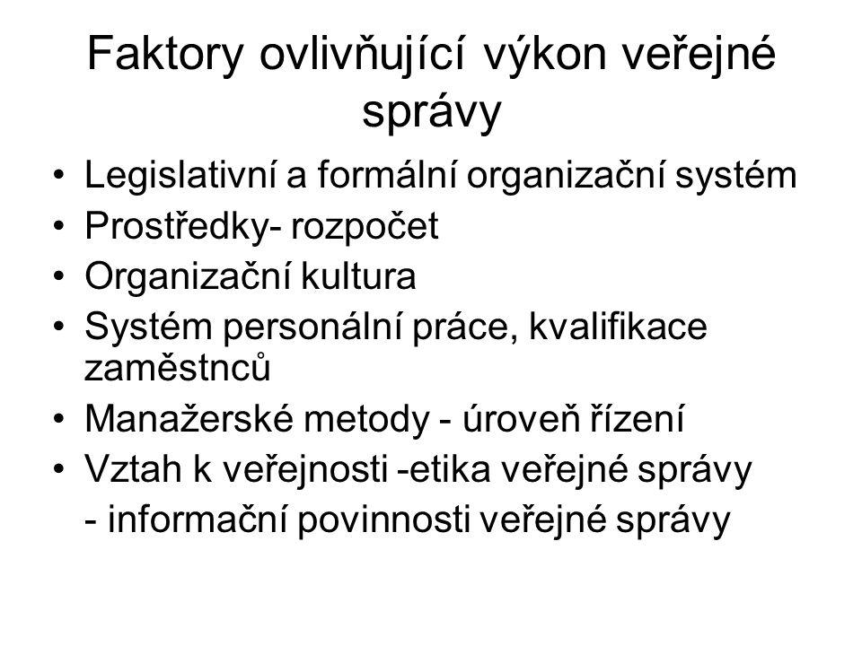 Faktory ovlivňující výkon veřejné správy •Legislativní a formální organizační systém •Prostředky- rozpočet •Organizační kultura •Systém personální práce, kvalifikace zaměstnců •Manažerské metody - úroveň řízení •Vztah k veřejnosti -etika veřejné správy - informační povinnosti veřejné správy