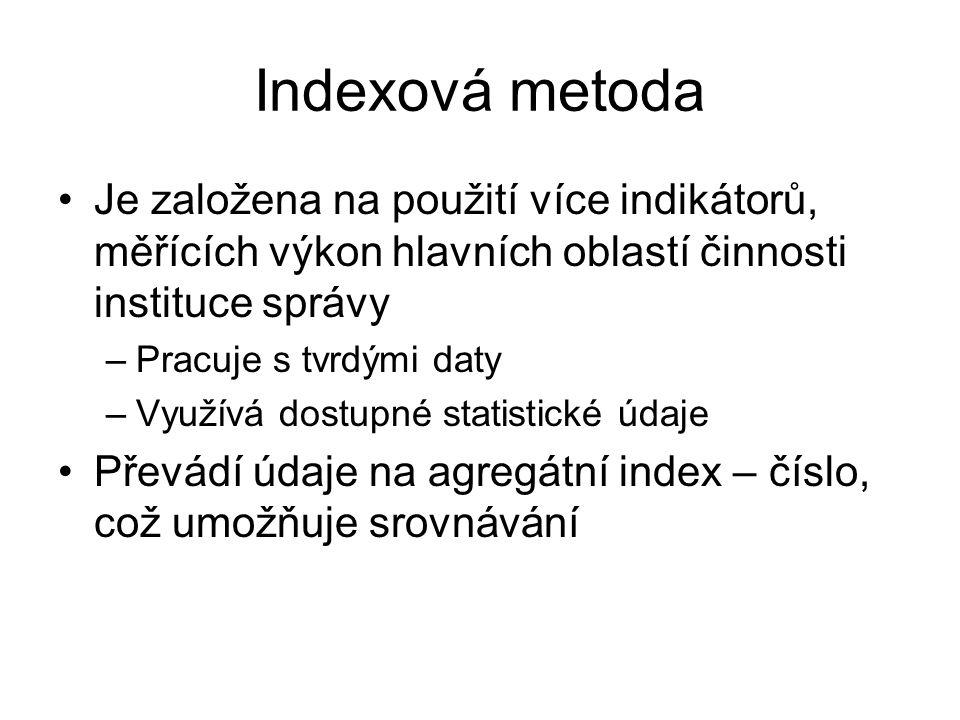 Indexová metoda •Je založena na použití více indikátorů, měřících výkon hlavních oblastí činnosti instituce správy –Pracuje s tvrdými daty –Využívá dostupné statistické údaje •Převádí údaje na agregátní index – číslo, což umožňuje srovnávání
