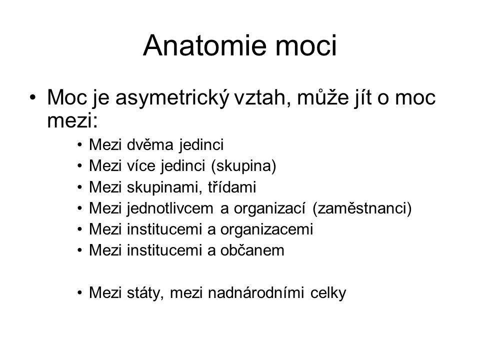Anatomie moci •Moc je asymetrický vztah, může jít o moc mezi: •Mezi dvěma jedinci •Mezi více jedinci (skupina) •Mezi skupinami, třídami •Mezi jednotlivcem a organizací (zaměstnanci) •Mezi institucemi a organizacemi •Mezi institucemi a občanem •Mezi státy, mezi nadnárodními celky