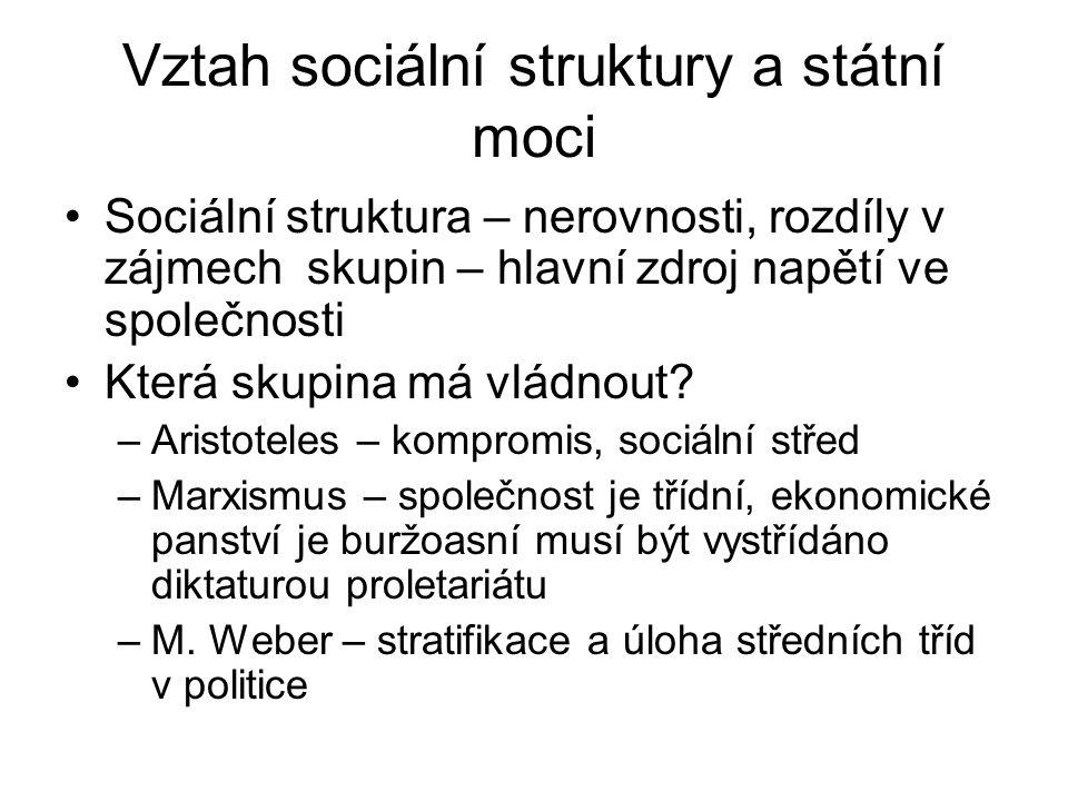 Vztah sociální struktury a státní moci •Sociální struktura – nerovnosti, rozdíly v zájmech skupin – hlavní zdroj napětí ve společnosti •Která skupina má vládnout.