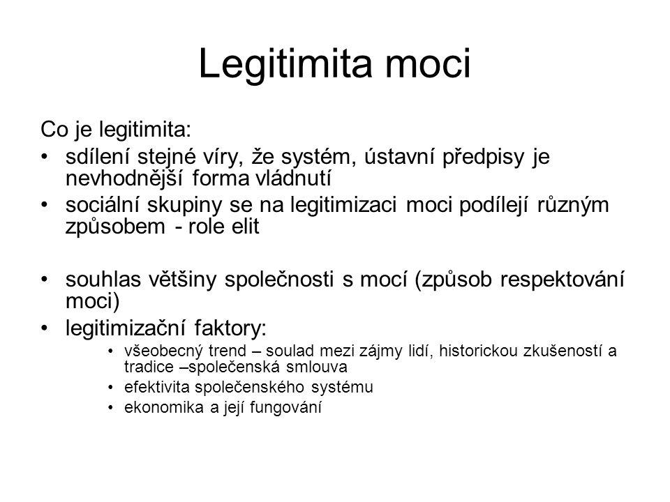 Legitimita moci Co je legitimita: •sdílení stejné víry, že systém, ústavní předpisy je nevhodnější forma vládnutí •sociální skupiny se na legitimizaci