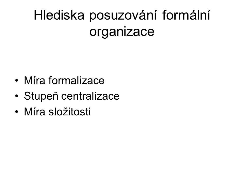 Hlediska posuzování formální organizace •Míra formalizace •Stupeň centralizace •Míra složitosti