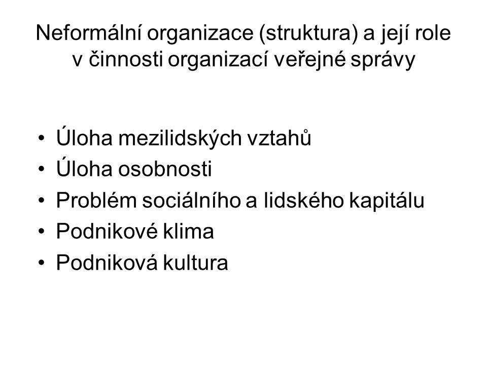 Neformální organizace (struktura) a její role v činnosti organizací veřejné správy •Úloha mezilidských vztahů •Úloha osobnosti •Problém sociálního a lidského kapitálu •Podnikové klima •Podniková kultura