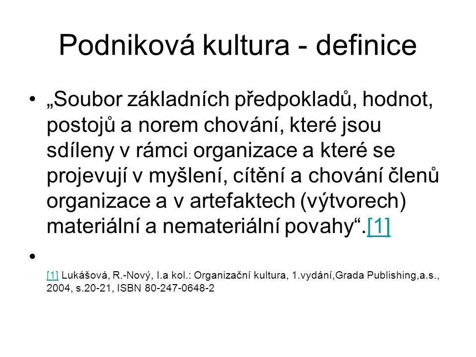 """Podniková kultura - definice •""""Soubor základních předpokladů, hodnot, postojů a norem chování, které jsou sdíleny v rámci organizace a které se projevují v myšlení, cítění a chování členů organizace a v artefaktech (výtvorech) materiální a nemateriální povahy .[1][1] • [1] Lukášová, R.-Nový, I.a kol.: Organizační kultura, 1.vydání,Grada Publishing,a.s., 2004, s.20-21, ISBN 80-247-0648-2 [1]"""