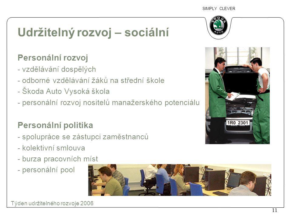 SIMPLY CLEVER 12 Týden udržitelného rozvoje 2006 Udržitelný rozvoj – sociální Sociální služby - penzijní připojištění - půjčky na bydlení - stravování - doprava - ubytování - podpora zaměstnanců a jejich rodin