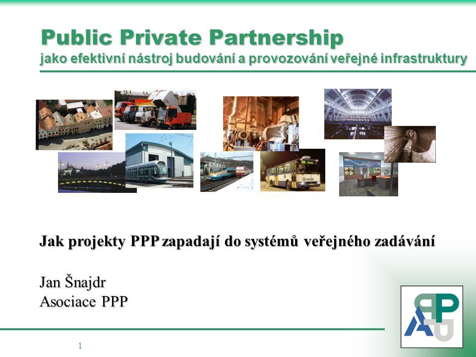 1 Public Private Partnership jako efektivní nástroj budování a provozování veřejné infrastruktury Jak projekty PPP zapadají do systémů veřejného zadáv