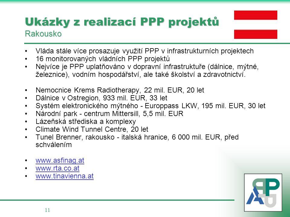 11 Ukázky z realizací PPP projektů Rakousko •Vláda stále více prosazuje využití PPP v infrastrukturních projektech •16 monitorovaných vládních PPP pro