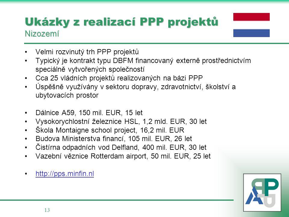 13 Ukázky z realizací PPP projektů Nizozemí •Velmi rozvinutý trh PPP projektů •Typický je kontrakt typu DBFM financovaný externě prostřednictvím speci