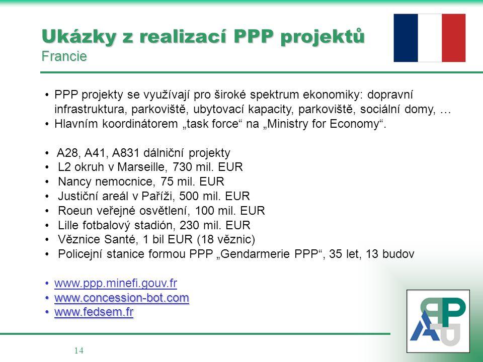 14 Ukázky z realizací PPP projektů Francie • •PPP projekty se využívají pro široké spektrum ekonomiky: dopravní infrastruktura, parkoviště, ubytovací
