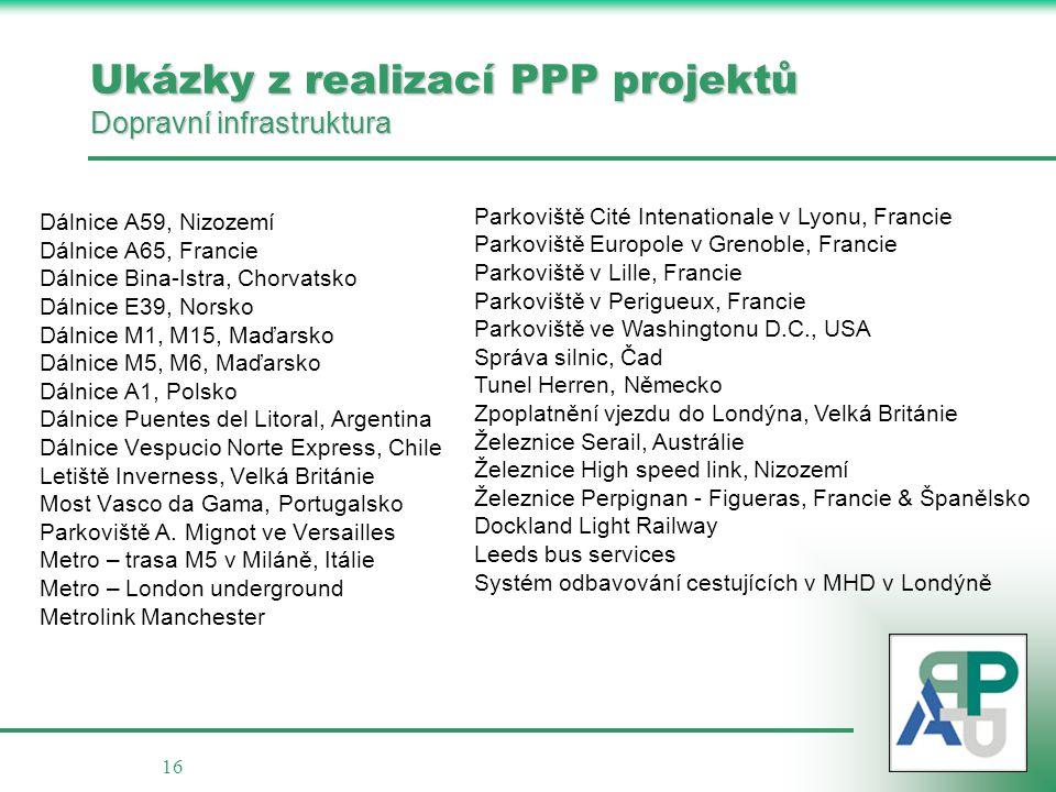 16 Ukázky z realizací PPP projektů Dopravní infrastruktura Dálnice A59, Nizozemí Dálnice A65, Francie Dálnice Bina-Istra, Chorvatsko Dálnice E39, Nors