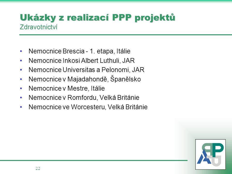22 Ukázky z realizací PPP projektů Zdravotnictví •Nemocnice Brescia - 1. etapa, Itálie •Nemocnice Inkosi Albert Luthuli, JAR •Nemocnice Universitas a