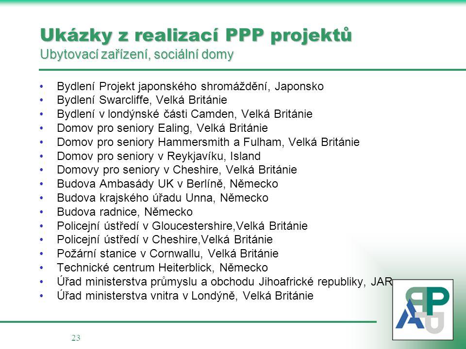 23 Ukázky z realizací PPP projektů Ubytovací zařízení, sociální domy •Bydlení Projekt japonského shromáždění, Japonsko •Bydlení Swarcliffe, Velká Brit