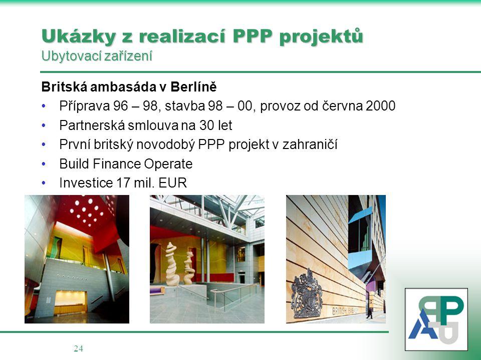 24 Ukázky z realizací PPP projektů Ubytovací zařízení Britská ambasáda v Berlíně •Příprava 96 – 98, stavba 98 – 00, provoz od června 2000 •Partnerská